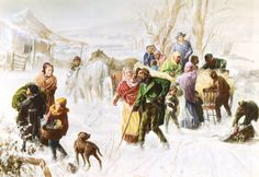 """Charles T. Webber painted """"The Underground Railroad"""", a tribute to the pre-war abolitionists. It depicts fugitive slaves arriving at the farm of Levi & Catherine Coffin, who helped more than 3,000 slaves on their journey to freedom. Levi is standing on the wagon, Catherine, and the noted abolitionist, Hannah Haydock are also shown."""