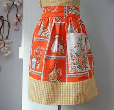 Apron made from 1950's kitchen fabric