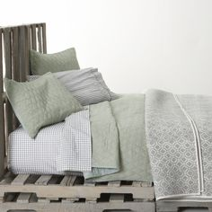 Sea Green Bed Linens    Crate  I love sage green so much. Just seems so relaxing. Definitely one of my favorite colors for the bedroom and bath