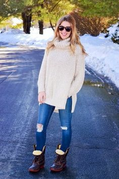 Ripped jeans and #LLBean Boots.  #style #fashion