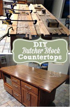 DIY Butcher Block Countertops - Katie's Crochet Goodies  Crafts :) Pin now, DO later!!   #home #diy #woodprojects