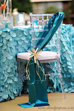 Glamorous mermaid party chair and tablecloth