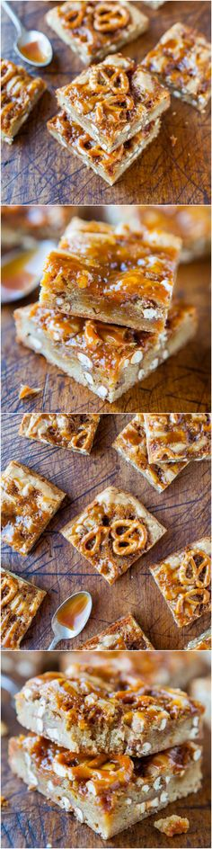 Salted Caramel Pretzel Blondies - A salty-and-sweet treat with a buttery blondie base topped with crunchy pretzels and just dripping with salted caramel! Super good!