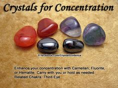 Crystal Guidance: Crystal Tips and Prescriptions - Concentration. Top Recommended Crystals: Carnelian, Fluorite, or Hematite.  Additional Crystal Recommendations: Lapis Lazuli, Ruby, or Topaz.  Concentration is associated with the Third Eye chakra.