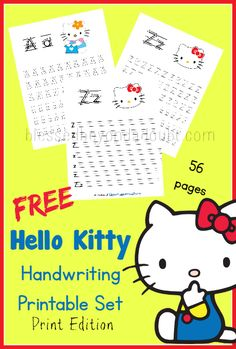 FREE Hello Kitty Handwriting Printable Set! Super cute with over 50 pages!