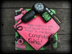 Beauty school grad cake - This cake was made for a beauty school graduate who was described to me as an '80s glam girl (in a good way) and her favorite colors were atomic vomit green and hot pink.