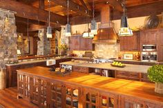 Montana timber home kitchen -two islands!