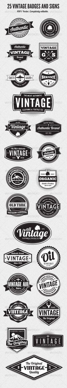 25 Premium Retro Style Vector Badges - GraphicRiver Item for Sale