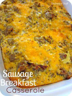 Sausage Breakfast Casserole ~ http://www.sixsistersstuff.com/2012/08/sausage-breakfast-casserole-recipe.html