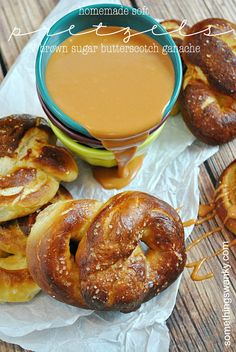 Soft Pretzels with Butterscotch Ganache