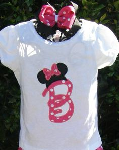 Minnie Initial shirt perfect for Disney vacations or birthdays ANY letter OR number available with matching hair bow. $22.00, via Etsy.