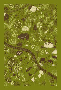 Monkey & Bear (green) Art Print