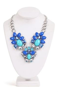 Deb Shops Statement Necklace with Blue Stone Design