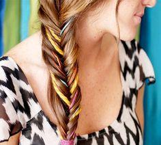 colorful fishtail braid