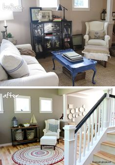 "Sometimes a small change in color can make all the difference — like this update from ""builder's beige"" to a more nuanced gray in @The Inspired Room's living room. Via MyColortopia.com coffee tables, living rooms, paint idea, paint colors, hous, live room, apart idea, coffe tabl, decor idea"