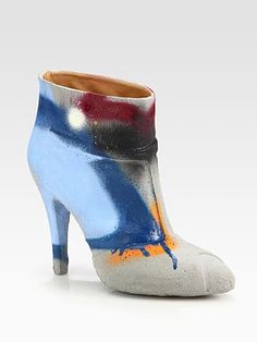 Maison Martin Margiela Cement-Dipped Graffiti Ankle Boots