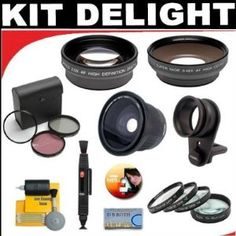 .42x HD Super Wide Angle Fisheye Lens + 2x Digital Telephoto Professional Series Lens + 0.5x Digital Wide Angle Macro Professional Series Lens + +1 +2 +4 +10 Close-Up Macro Filter Set + 3-piece Filter Set + DB ROTH Accessory Kit For The Samsung NV9, L310, L210, L110, L100 Digital Cameras. Kit Includes: * 1)  .42x Macro Fisheye Lens - An essential tool for extreme sports and dramatic action shooters. The .42x Ultra Wide Angle Fisheye Converter Lens increases the versatility of your existing lens