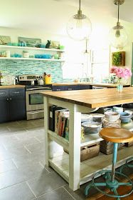 Vintage seascape kitchen makeover - butcher block countertops, industrial pendant lights, farmhouse style island, turquoise stools