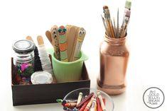 Repurpose cereal boxes into desk organizers.