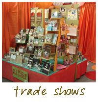Craft show display making lots of use of vertical space with a very small base
