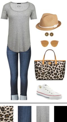casual outfit for spring with Tory Burch accessories + bag.