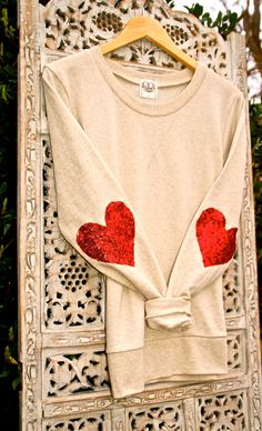 """Sequin Heart Elbow Patch - """"Dazzle Patch"""" Oatmeal Sweatshirt  w/ Red Heart Sequin Elbow Patch - Valentine's Day Sale"""