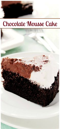 Moist, scrumptious layer of Chocolate Cake topped with a delicious layer of Mousse and Whipped Vanilla Frosting. | #chocolate #chocolatecake #recipes