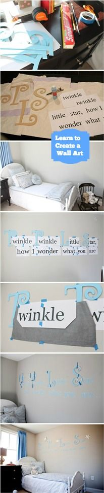 Learn how to a whimsical  wall art. It's an An inexpensive but impactful way to add beautiful and even personal wall décor to your child's nursery or room. http://www.babydeco.co.uk/creative-fun-diy-nursery-ideas-whimsical-wall-art   #DIY #Interior #Nursery  #Nursery
