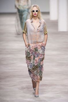 Dries Van Noten, Spring 2013 - great skirt textures against the sheer blouse