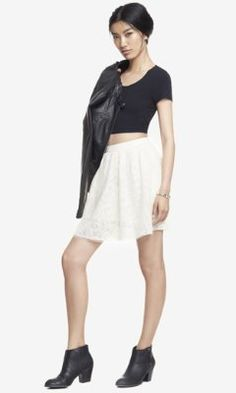 Hooray for high waisted skirts! HIGH WAIST LACE FULL SKIRT from EXPRESS