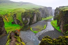 Fjadrargljufur gorge, Iceland - I would love to visit Iceland.