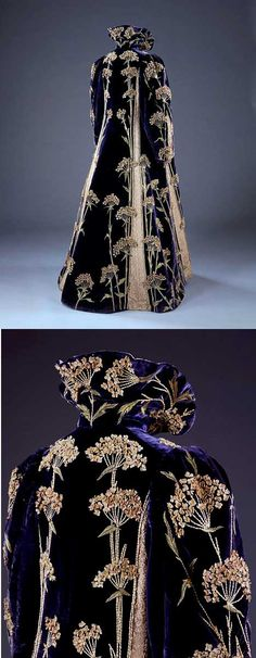 Purple velvet coat, 1895-1900. Medieval-style collar. Entirely covered with dramatic sprays of an English wildflower called Sweet Cicely that are hand-embroidered in yellow and green silk, with petals of white felt. The influence of the Arts and Crafts movement is apparent in this coat.