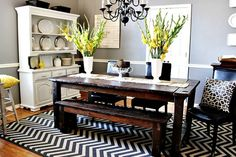 Love wall colors, dining rooms, grey walls, cottag, rug, dine room, farmhouse table, gray walls, wood tables