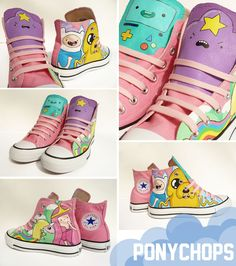 Adventure Time come on grab your friends and some converse. I'm not fond of pink but I am willing to wear it for these chucks.