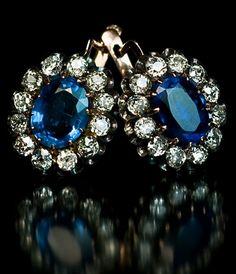 Antique Russian Kyanite and Diamond Earrings.