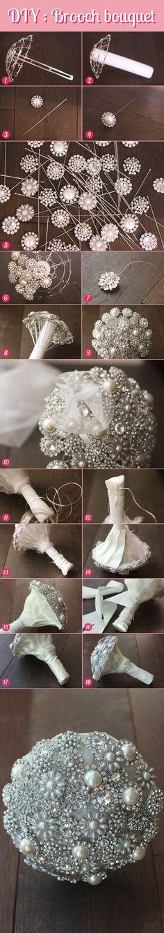 craft, flowerless wedding, altern flower, brooch bouquet diy, diy brooch bouquet tutorial