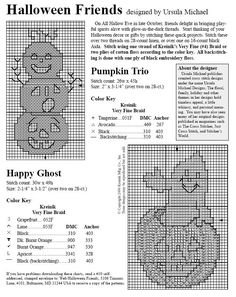 Fantasmi; Free Halloween cross stitch quick charts with color keys; cute and quick to stitch.