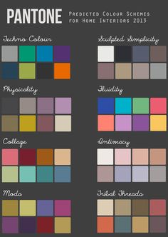 Pantone Colour Schemes for Home Interiors 2014