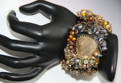 2012 Coral Reef Bead Embroidery Cuff by Jean A. Upton