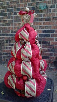 Red Burlap Christmas Tree