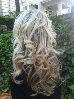 Wish my hair would stay curly like this! hair colors, dark hair, long curls, long hairstyles, wavy hair, wedding hairs, soft curls, curly hair, sock buns