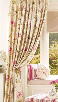 Lovely reading nook curtains, garden summer, enchant garden, windowseat, gardens, fabric, window seats, bedroom windows