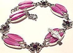 $69 Purple Rhinestone Virgin Mary Bracelet Our Lady of Grace (Image1)