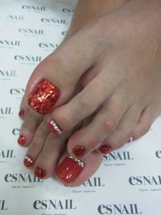 Pedi red and sparkly nails