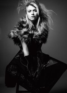 Imogen Poots for Interview Magazine June/July 2011 by Craig McDean | model | posing | black and white | blonde | fur | stool | gloves |