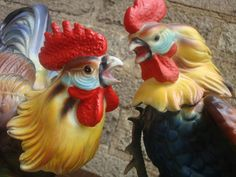 Pair of Porcelain Roosters by PlayfullyVintage on Etsy,