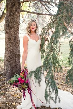 fall bridal shoot ideas in the woods #bride #bridals #weddingchicks http://www.weddingchicks.com/2014/02/13/romance-in-the-woods-wedding-inspiration/