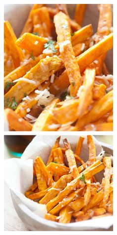 Parmesan Sweet Potato Fries. So easy to make and 3 ingredients. Cheesy, crispy, and a perfect side dish. http://rasamalaysia.com