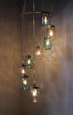 DIY mason jar chandelier.