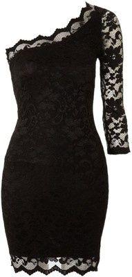 Black Lace Trimmed Cocktail Dress.